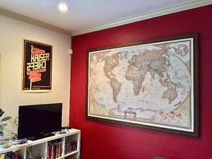 Stunning National Geographic world map (framed)