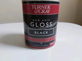 TURNER &GRAY NON DRIP Gloss Black Paint 750ml