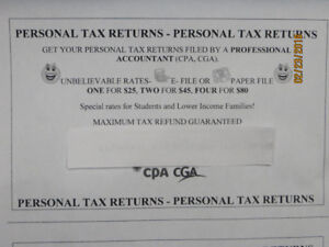 Personal Tax Returns offered by a CA/CPA/CGA