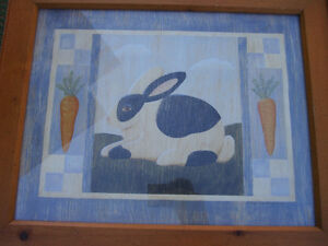 country Rabbit and sheep pictures wooden frame