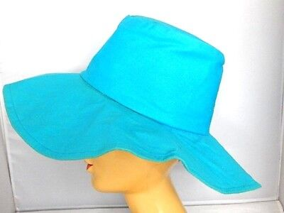 Vintage 1970s Sea Blue Beach Summer Hat Floppy Sun Bathing Cap Bohemian Hippy