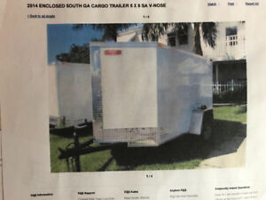 2014 5x8 Single Axle V Nose Enclosed Trailer, New tires + spare.