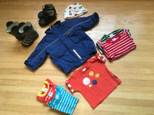 Polarn O. Pyret t-shirts, jacket and rain boots, 9-12 months