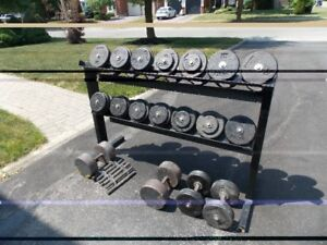 Set of cast iron dumbbells and storage rack.