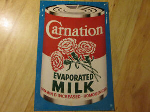CARNATION EVAPORATED MILK Tin Metal Sign Vintage Advertising