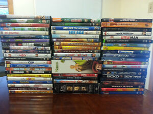BOX LOT OF APPROX 60 DVD MOVIE TITLES