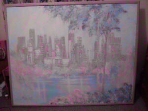 """Large Beautiful Canvas Painting - """"City Skyline from the Lake"""""""