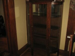 Antique Glass Curio  Cabinet -Also a Sideboard
