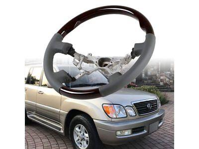 BE Steering Wheel Wood Grain Leather For Toyota Land Cruiser 100 Lexus LX470