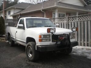 CHEVY PLOW TRUCK WITH HYDRULIC DUMP BOX & HYDRULIC TAIL GATE.