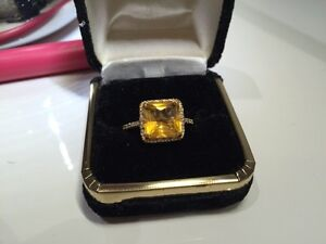 EFFY CITRINE DIAMOND 14K YELLOW GOLD RING