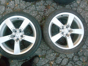 Two 18 inch Mazda 5 Bolt Rims Tires