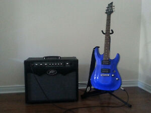 Schecter guitar and Peavey amplifier