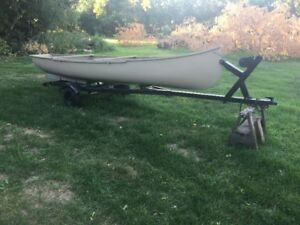 17 FT Freighter Canoe with Tilting Boat Trailer