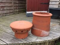 4 Terracotta chimney pots and 2 chimney cowl pot tops