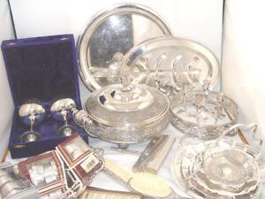 Vintage Silver Plate Lot Roast Plate Ornate Casserole Boy Scouts