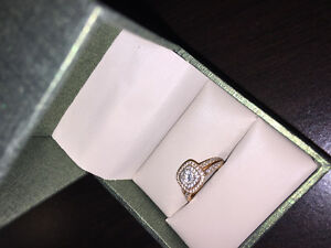 Rose gold diamond engagement set