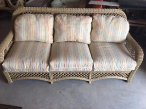 Wicker Couch, Chair, Tables