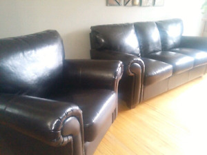 CHOCOLATE BROWN COUCH/SOFA AND CHAIR