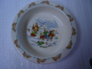 "Vintage  Bunnykins Rimmed Bowl ""Winter Sledding"""