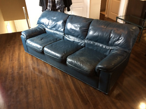 Genuine Leather Blue Couch PRICE REDUCED