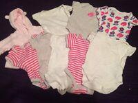 0-3 months baby girl vest bundle with added fleece jacket