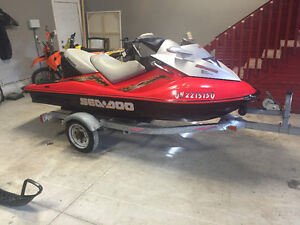2004 seadoo GTX supercharged 3 seater + trailer