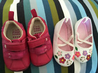 GORGEOUS NEW GLITTERY BABY GIRL CLARKS AND H&M FIRST SHOES !Sz 2,5F - 3