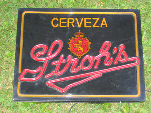 Rare Stroh's Cerveza (Spanish) Light-up Beer Sign