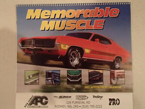 New 2001 MEMORABLE MUSCLE CARS 12 Month CALENDAR. Issued by APC.