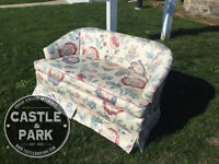 Loveseat, Floral, Sofa, Couch, Seating, Living Room, Vintage