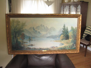 Excellent Cond. Oil Painting picture 29x54 called Morning MIst