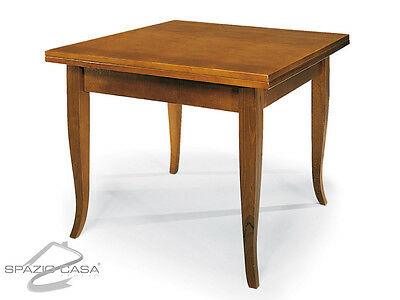 Tavolo quadrato in legno massello apertura a libro