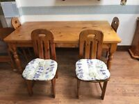 Solid Pine 6ft table with 4 solid pine chairs