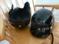 Two HJC motorcycle helmets with removable leather ear muffs
