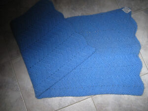 NEAT HAND CROCHETED BABY-BLUE LAP THROW