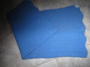 NEAT HAND CROCHETED BABY-BLUE LAP THROW