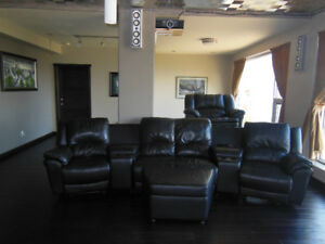 Black leather sectional sofa for sale