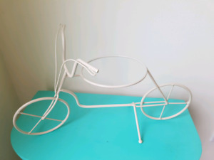 Contemporary White Bicycle Plant Stand