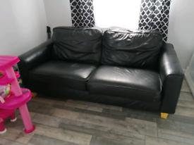 3 seater Black leather sofa.