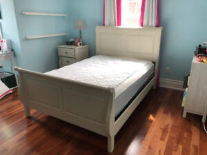 College Wood Work Bed + Side Table + Dresser + Mirror
