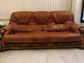 3 seater & 2 seat cow Hides Leather sofa