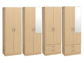 BRAND NEW - Ready Built 2 Door Wardrobe with Mirror, Shelf, Hanging Rail and Drawers Cupboard Oak
