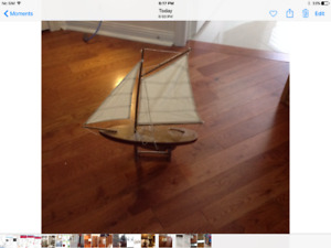"Decorative sailboat (18"" x 20"" x 4""); wooden dragon boat $6 each"