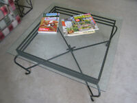 GLASS/WROUGHT IRON COFFEE TABLE