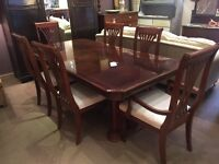 Beautiful Italian Style Mahogany Extending Dining Table + 6 Chairs - UK Delivery