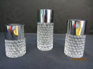 CRYSTAL AND CHROME CANDLE HOLDERS