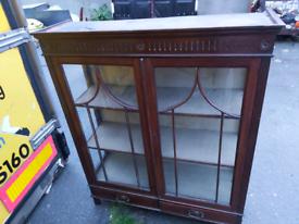 Display Cabinet - Quality Retro Vintage 2 Layer & 2 Glass Doors Displ