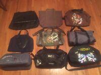 Job lot of 9 designer bags. Ed Hardy, YSL, Paco Rabanne, 212 man etc