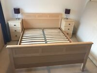King size wooden bedframe, bedsides and mattress!